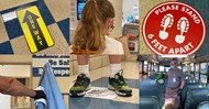 Photo collage of new health and safety measures in place for the school year.